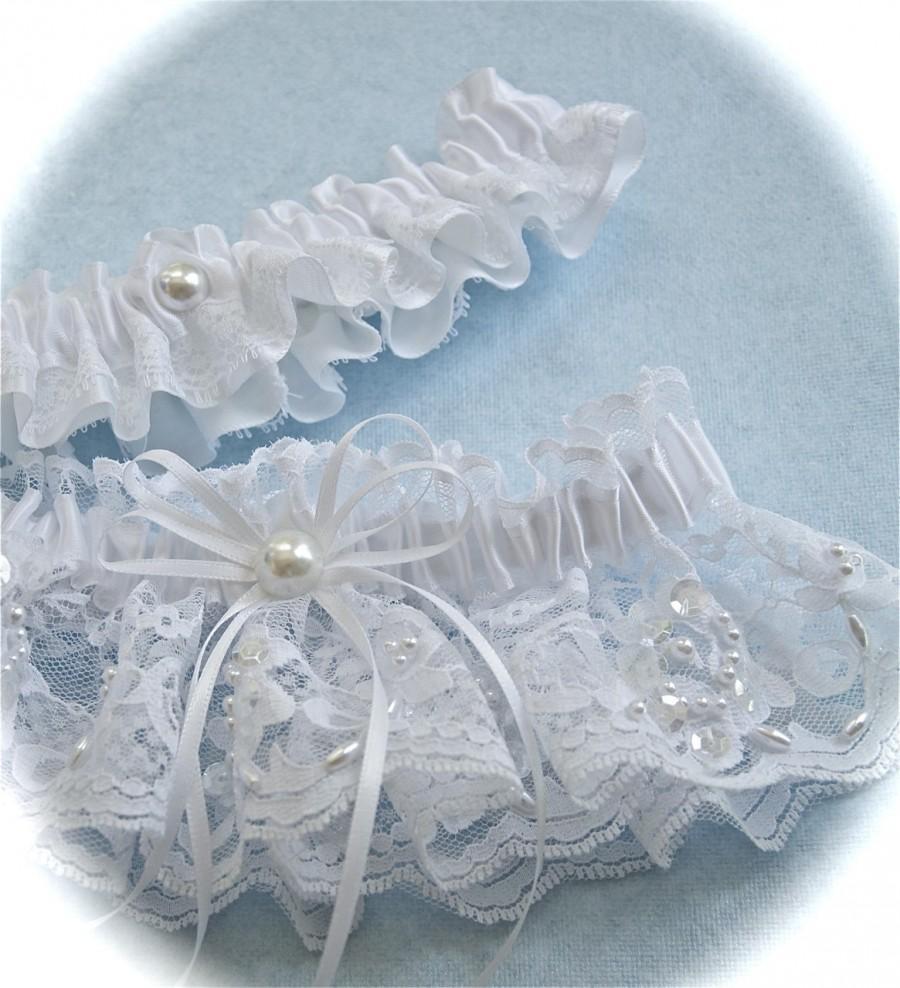 Mariage - Wedding White Chantilly Beaded Lace Garter Set