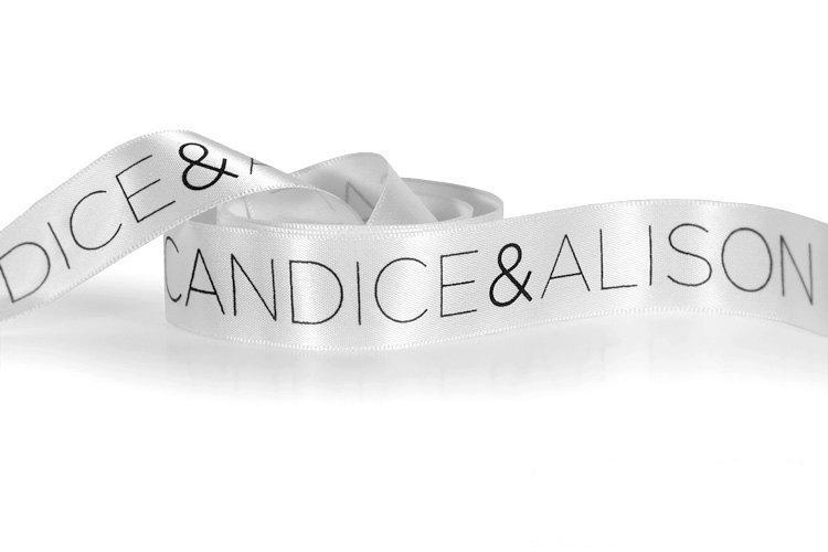 Свадьба - 100 Yard Personalized Satin Ribbon, Custom Printed Ribbon With Any Logo or Font Style! Printed Ribbon for Weddings, Favors & Birthday