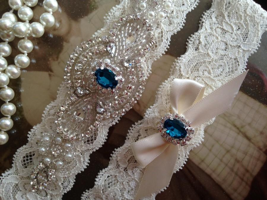 Mariage - SALE-Wedding Garter-Garter-Bridal garter-Ivory Lace-Rhinestone-Applique-Emerald-Green-Blue-Pink-Purple-Red-Vintage Garter-Stretch lace