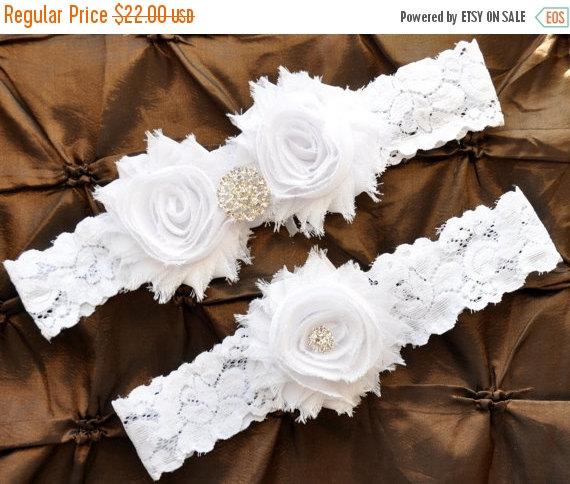 Mariage - SALE Garter Wedding, Garter Bridal - White Lace Garter, Keepsake Garter, Toss Garter, Shabby Chiffon White Wedding Garter Belt, White Garter