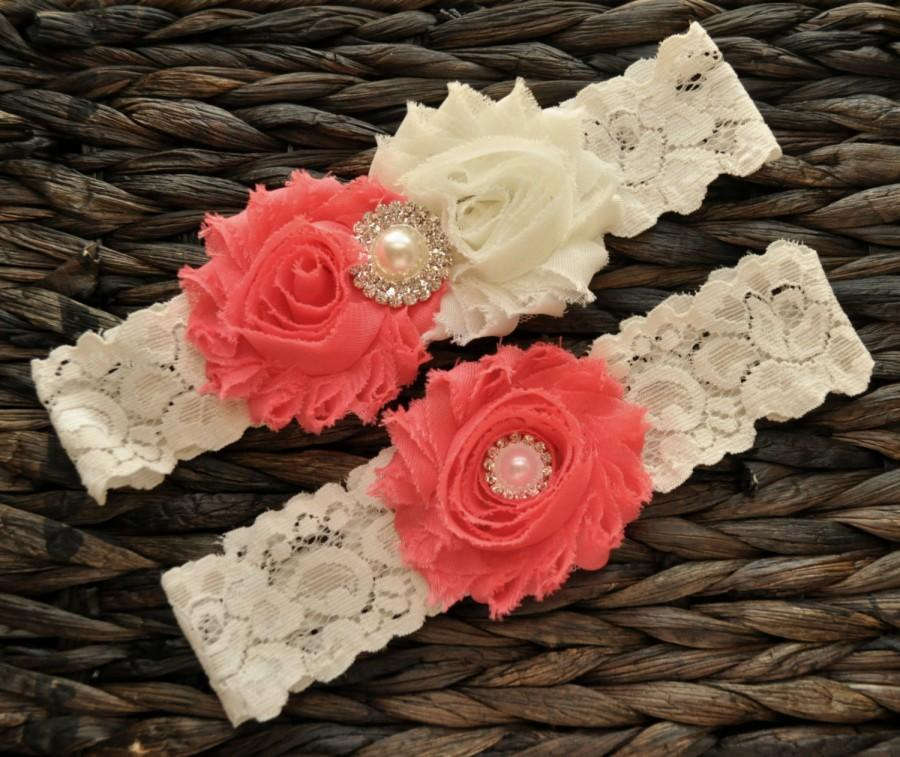 Mariage - Wedding Garter, Bridal Garter Set, Coral Wedding Garter, Coral Bridal Garter, Ivory Lace Garter, Ivory Wedding Garter Belt