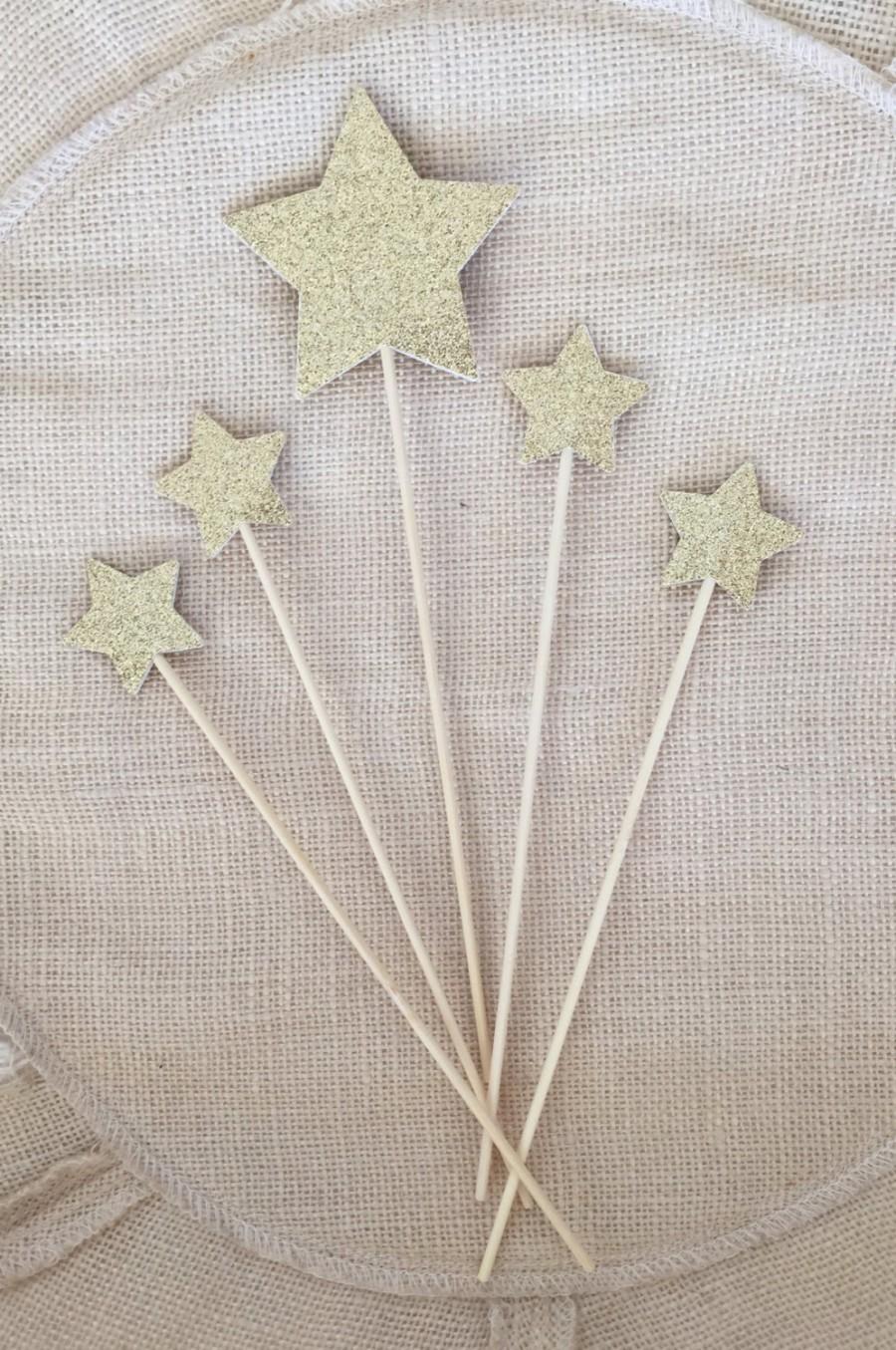 Свадьба - Gold Glitter Star Cake Topper Set (5),Twinkle Twinkle Little Star,Birthday,Baby Shower,Wedding,Star Topper,Party Decor,Gold Glitter Star