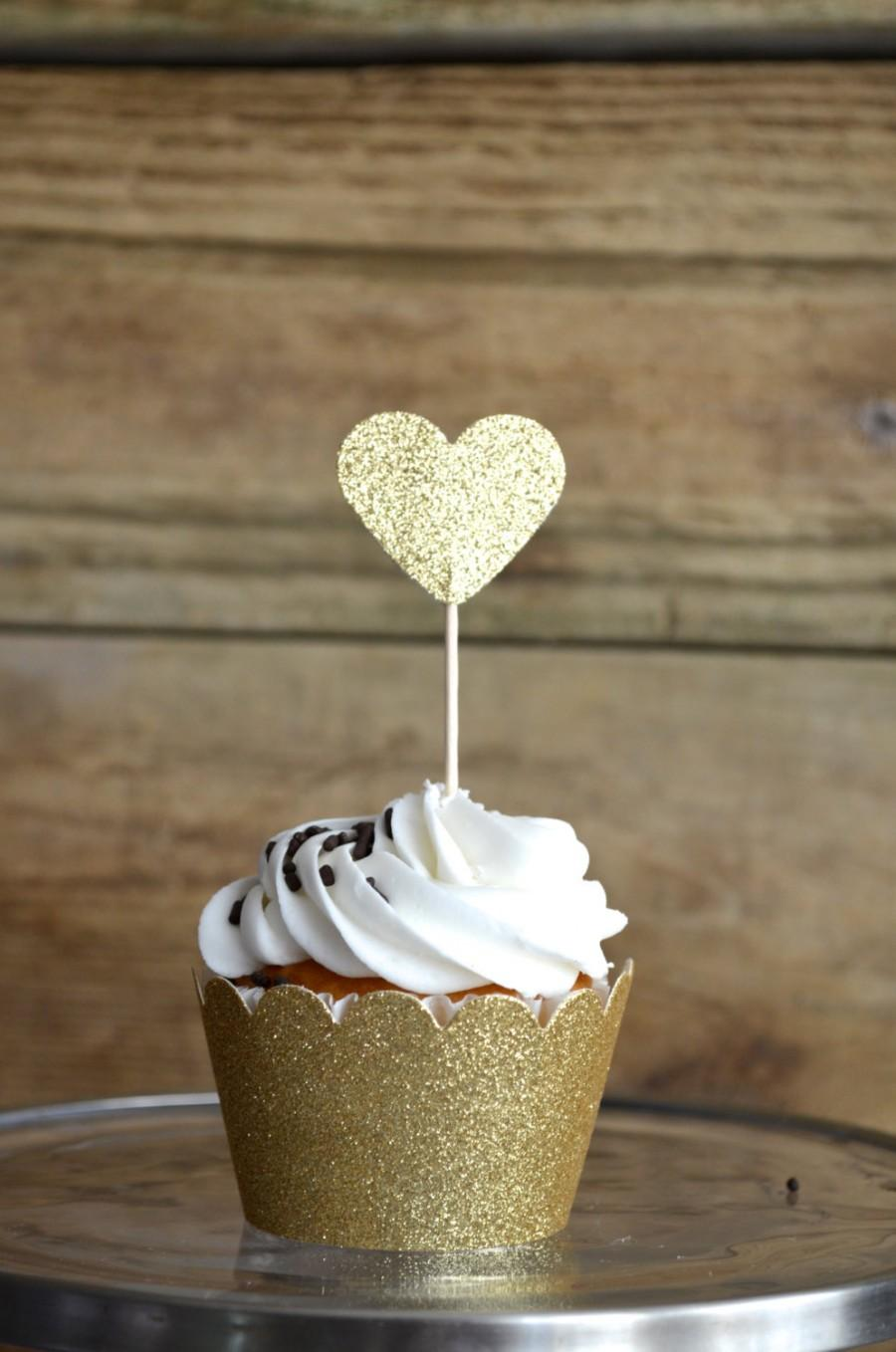 Wedding - Glitter Heart Cupcake Toppers, 12 bronze, gold, pink, hot pink, silver or red picks, custom colors available