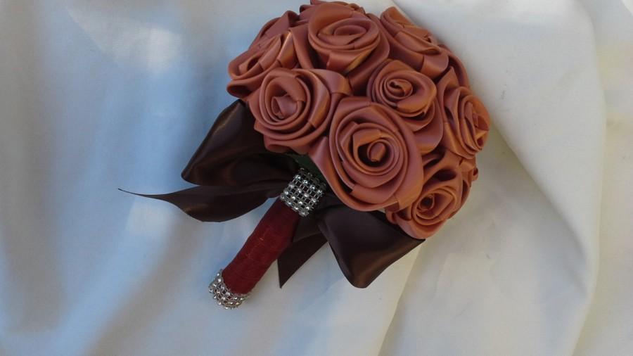 Свадьба - Cinnamon Keepsake Bouquet wedding bouquet Satin Bouquet brides bouquet bridesmaids bouquet