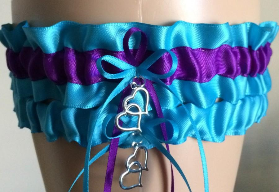 Mariage - Turquoise and Purple Wedding Garter Set, Bridal Garter Set, Keepsake Garter,  Available