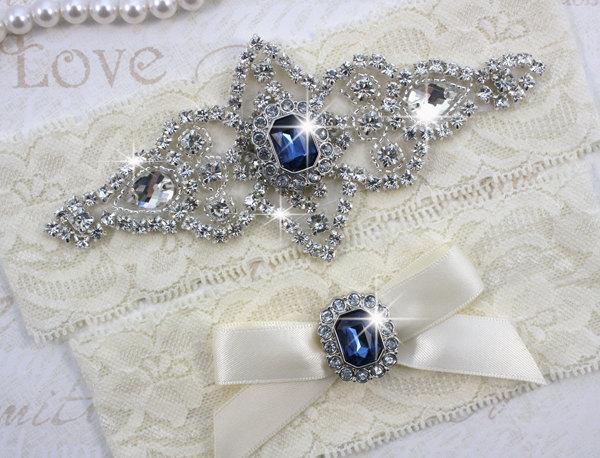 Mariage - SALE - Best Seller - CHLOE II - Sapphire Blue Wedding Garter Set, Ivory Lace Garter, Rhinestone Crystal Bridal Garters, Something Blue