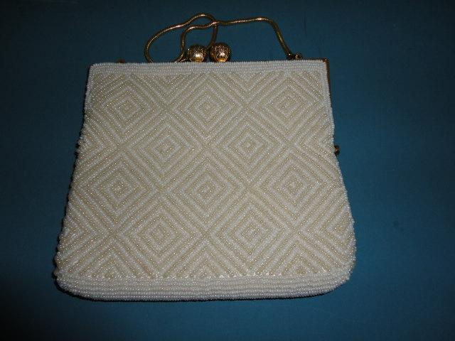 Mariage - Vintage Empire Made White & Ivory Beaded Evening Bag/Purse with Diamond  Design - 1960s - Ideal Bridal/Cruise/Prom/Races