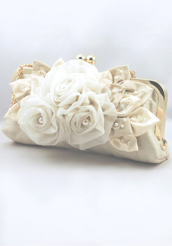 Свадьба - Light Gold Silk Bridal Clutch ABIGALE, decorated with Swarovski crystal and pearls