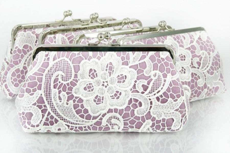 Mariage - Bridesmaids Clutches Lace Clutches for Bridal Party in Lilac Purple - Set of 5 with gift boxes L'HERITAGE