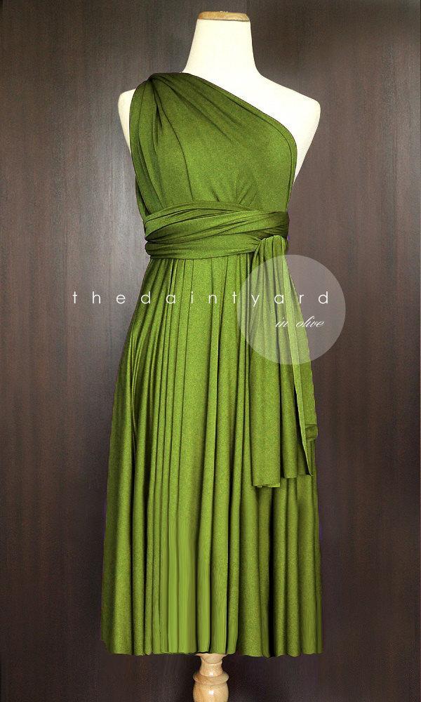 a413bbe7709 Short Straight Hem Olive Bridesmaid Convertible Infinity Dress Multiway  Dress Wrap Dress Maid of Honor Dress Wedding Dress Cocktail Dress
