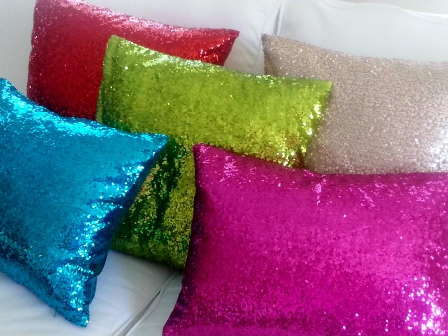 Charming SEQUIN PILLOW COVERS, Select Your Size And Color, Home Decor, Throw Pillow,  Toss Pillow, Sofa Pillow, Sparkly Pillow, Designer Pillow