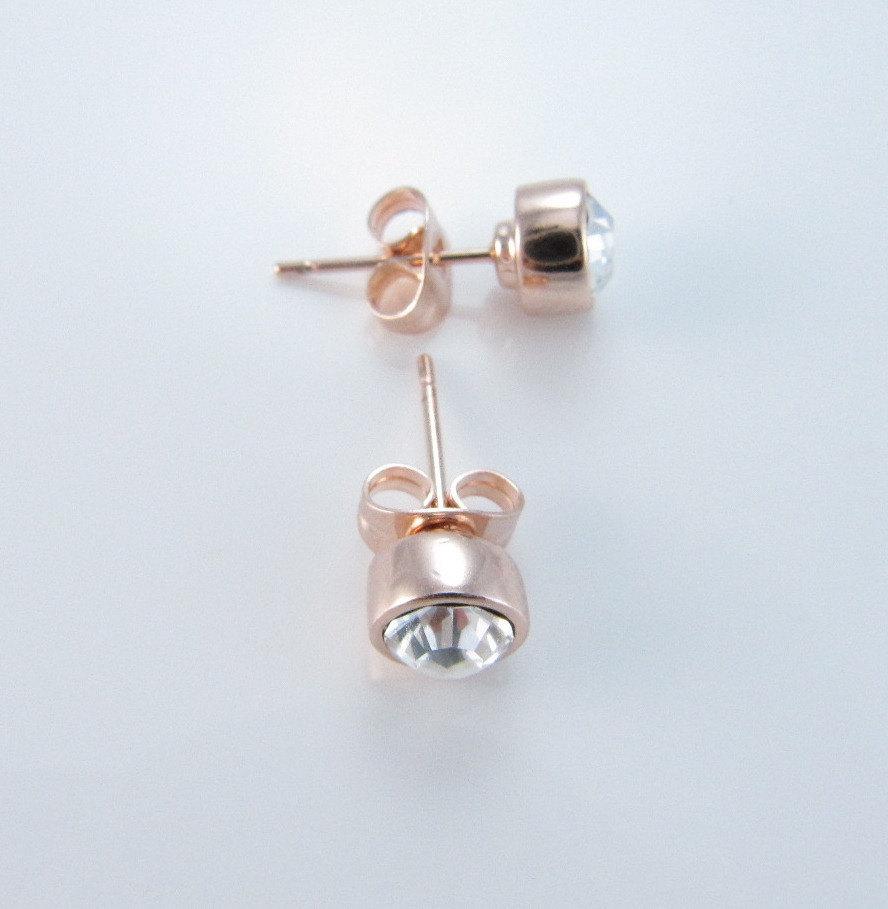 Rose Gold Earrings Swarovski Clear Crystal Stud