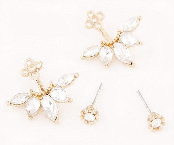 Flower Ear Jacket Earrings Gold Cuff Crystal Earring Gifts For Her Stud