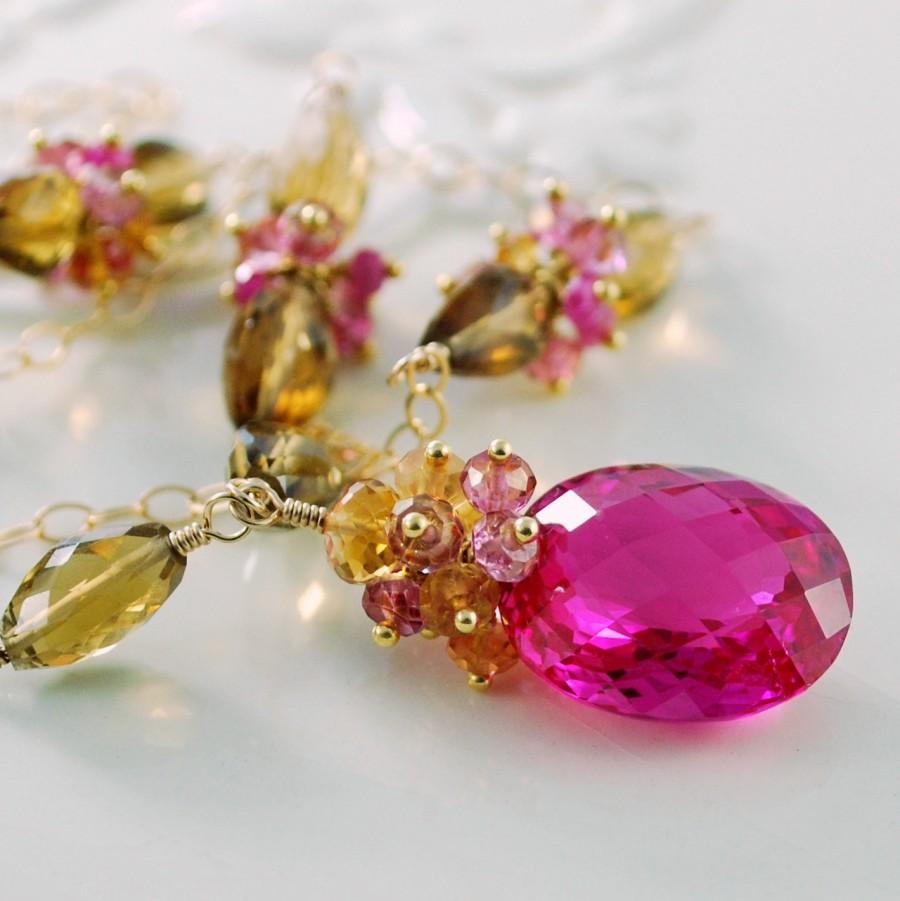 Wedding - Hot Pink Topaz Necklace Fuchsia Gemstone Cognac Quartz Citrine Genuine Ruby Gold Wedding Jewelry - Golden Morning - Complimentary Shipping