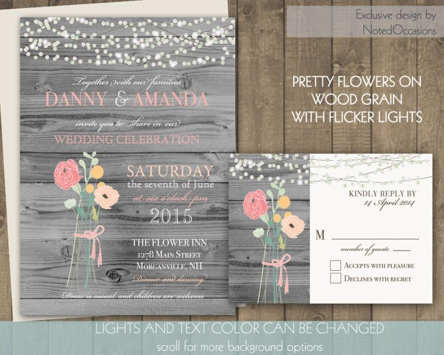 Rustic Wedding Invitations Floral Bouquet And Dangling Lights   Coral And  Pink With Background Options Scroll Digital Printable Wedding Set
