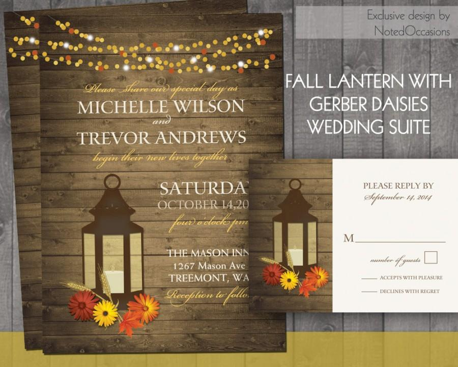 Fall Wedding Invitations Rustic Lantern Country Wedding Invitation ...