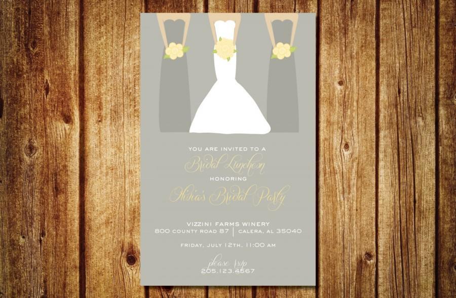 Mariage - Bridesmaids Luncheon Invitation- Custom Bridal Invitation- Customize Colors- Custom Digital File- Bride with bridesmaids