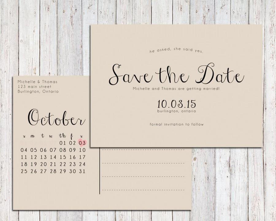 Rustic Save The Date Printable, Save The Date Postcard, Save The ...