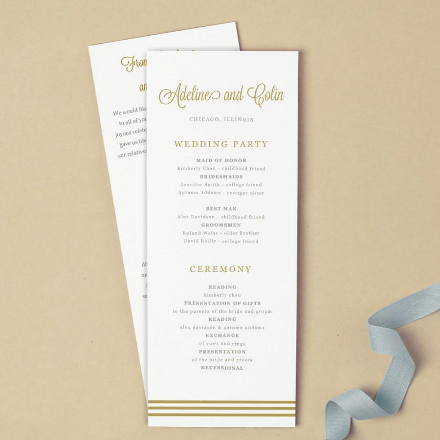 Mariage - Printable Wedding Program Template