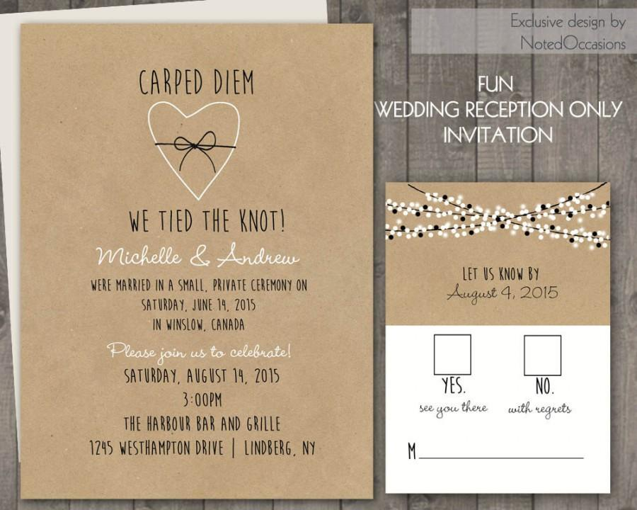 Wedding Reception Only Invitations On Kraft Paper Rustic Wedding ...