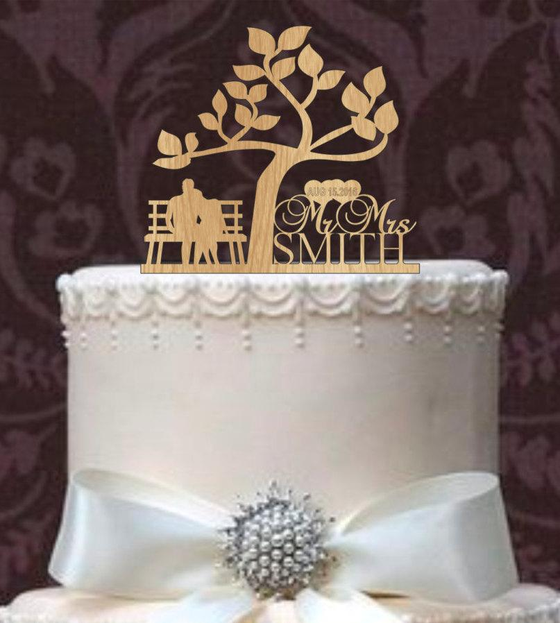 Rustic Wedding Cake Topper Custom Wedding Cake Topper Monogram Personsalized Silhouette With