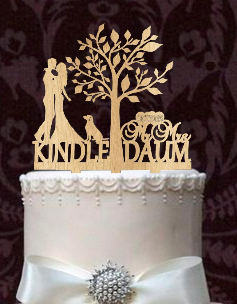 Mariage - Wedding Cake Topper,Rustic wedding cake topper,Custom Wedding Cake Topper,With Your first names, wedding date, and labrador retriever,topper