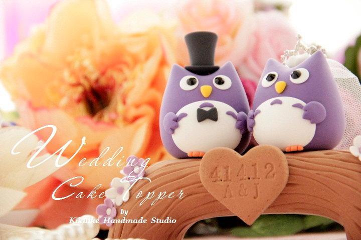 زفاف - Owls with wood bridge Wedding Cake Topper---k532