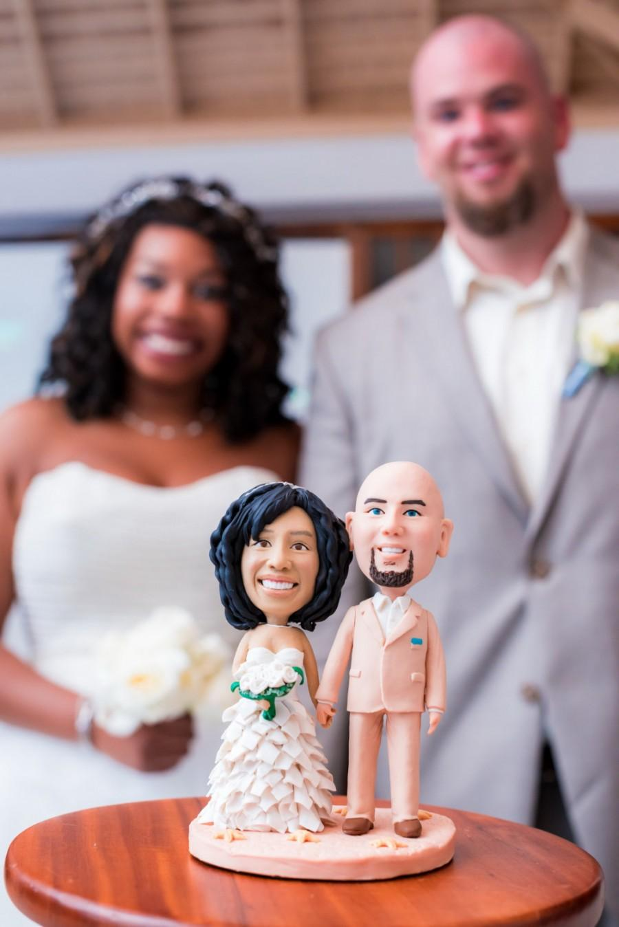 Interracial bobble head wedding toppers
