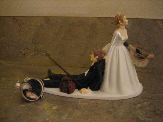 Fishing Themed Wedding Cake Topper For The Groom Grooms Cake