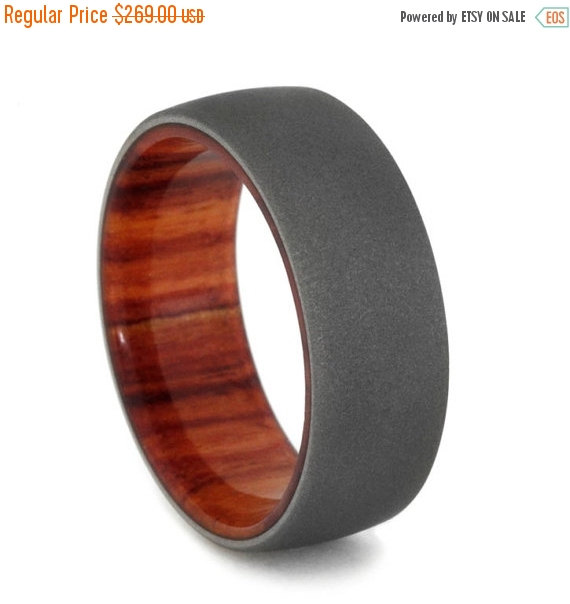 Wedding - Holiday Sale 10% Off Tulip Wood Wedding Band with Sandblasted Titanium Finish, Wood Wedding Ring