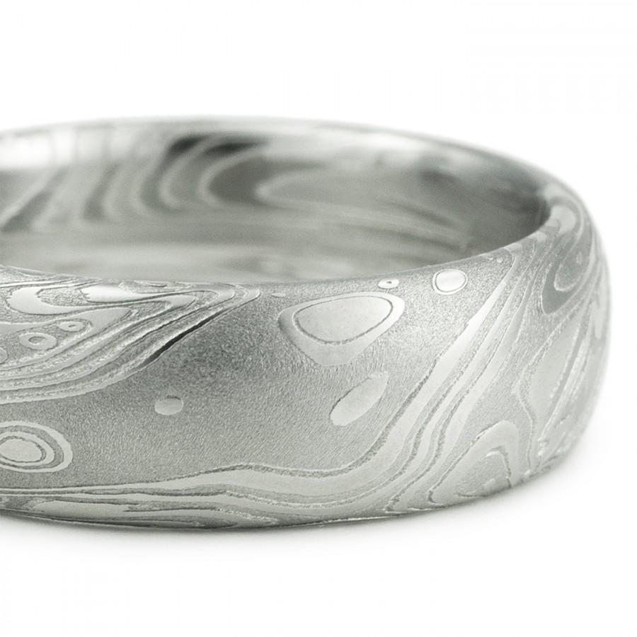 Hochzeit - Men's Wedding Ring - Domed with Flowing Pattern Like Water Waves Wind Clouds. Intricate Sophisticated and Handmade Art Metal Jewelry