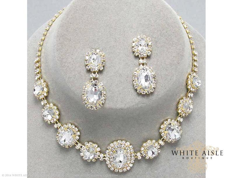 Gold Rhinestone Necklace Set, Bridal Statement Necklace, Wedding ...