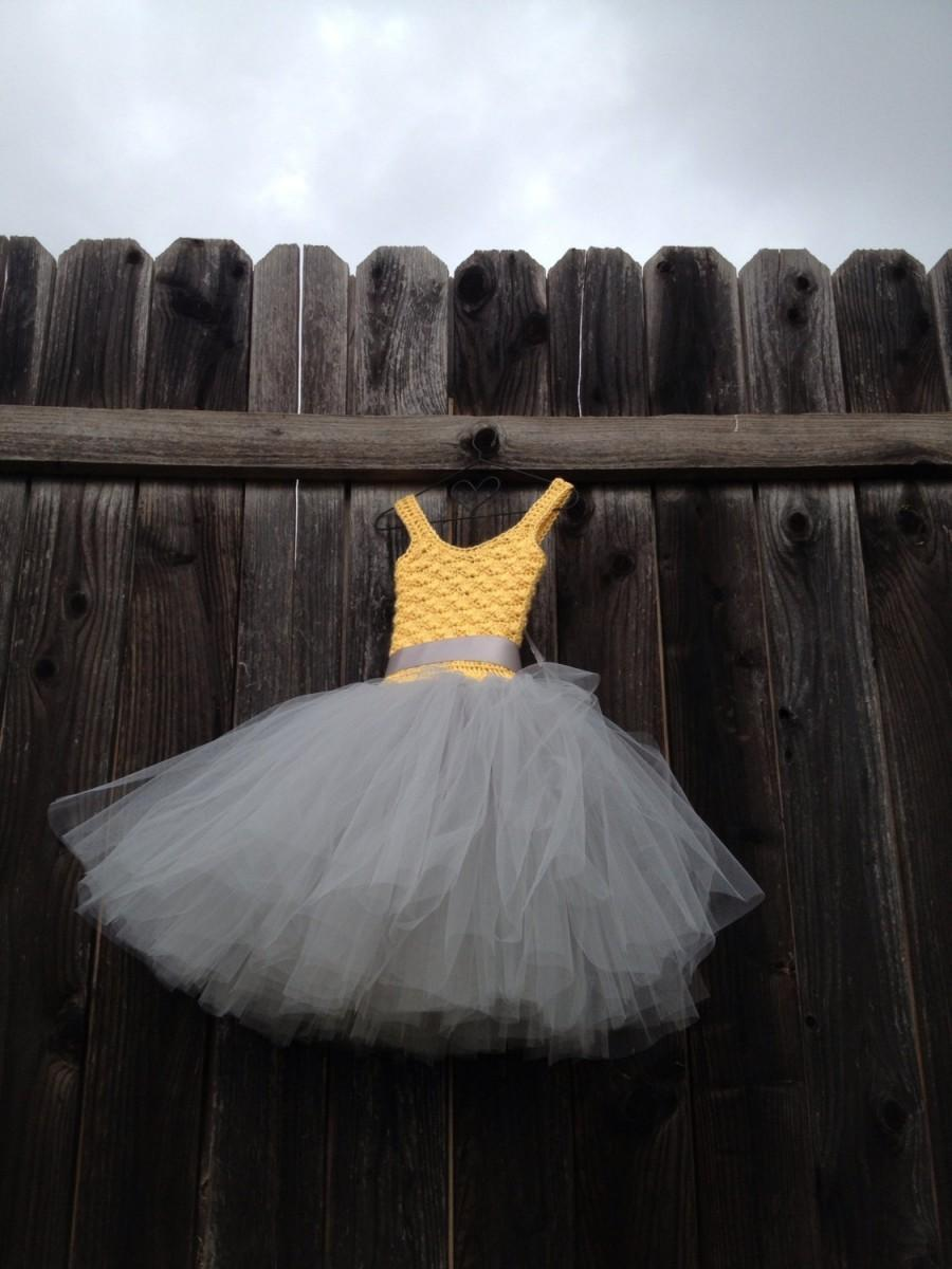 Yellow And Gray Flower Girl Tutu Dress Birthday Tutu Dress Crochet