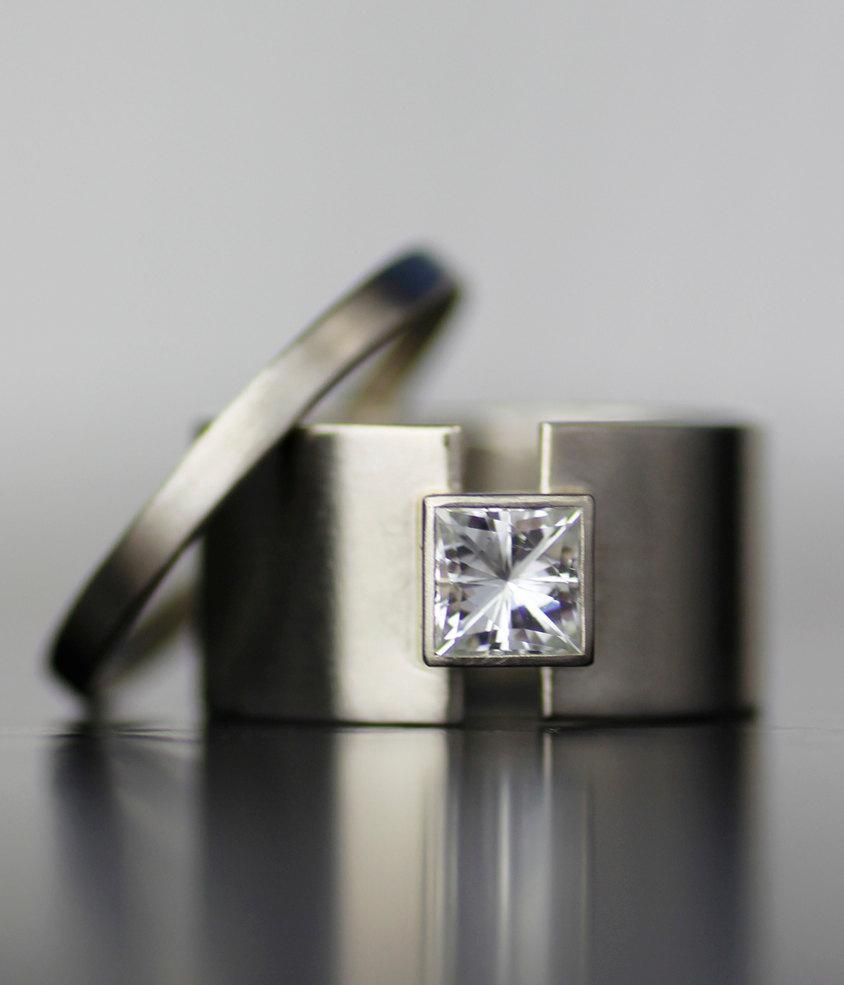 princess moissanite wide band alternative engagement ring
