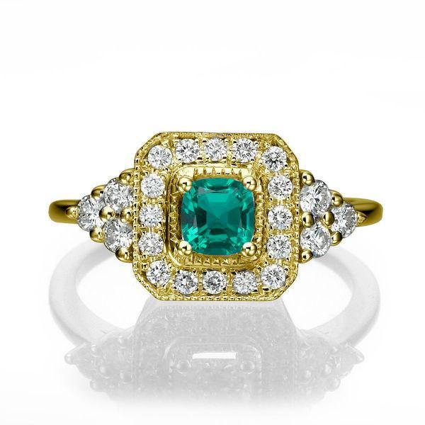 Natural Emerald Engagement Ring 18K Gold Ring Halo Ring 0 84