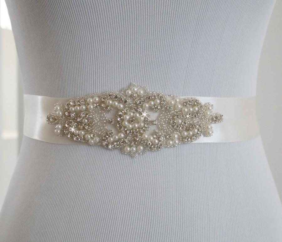 زفاف - Bridal Sash - Wedding Dress Sash Belt - Pearl and Rhinestone Ivory Sash - Ivory Rhinestone Bridal Sash, Style 218