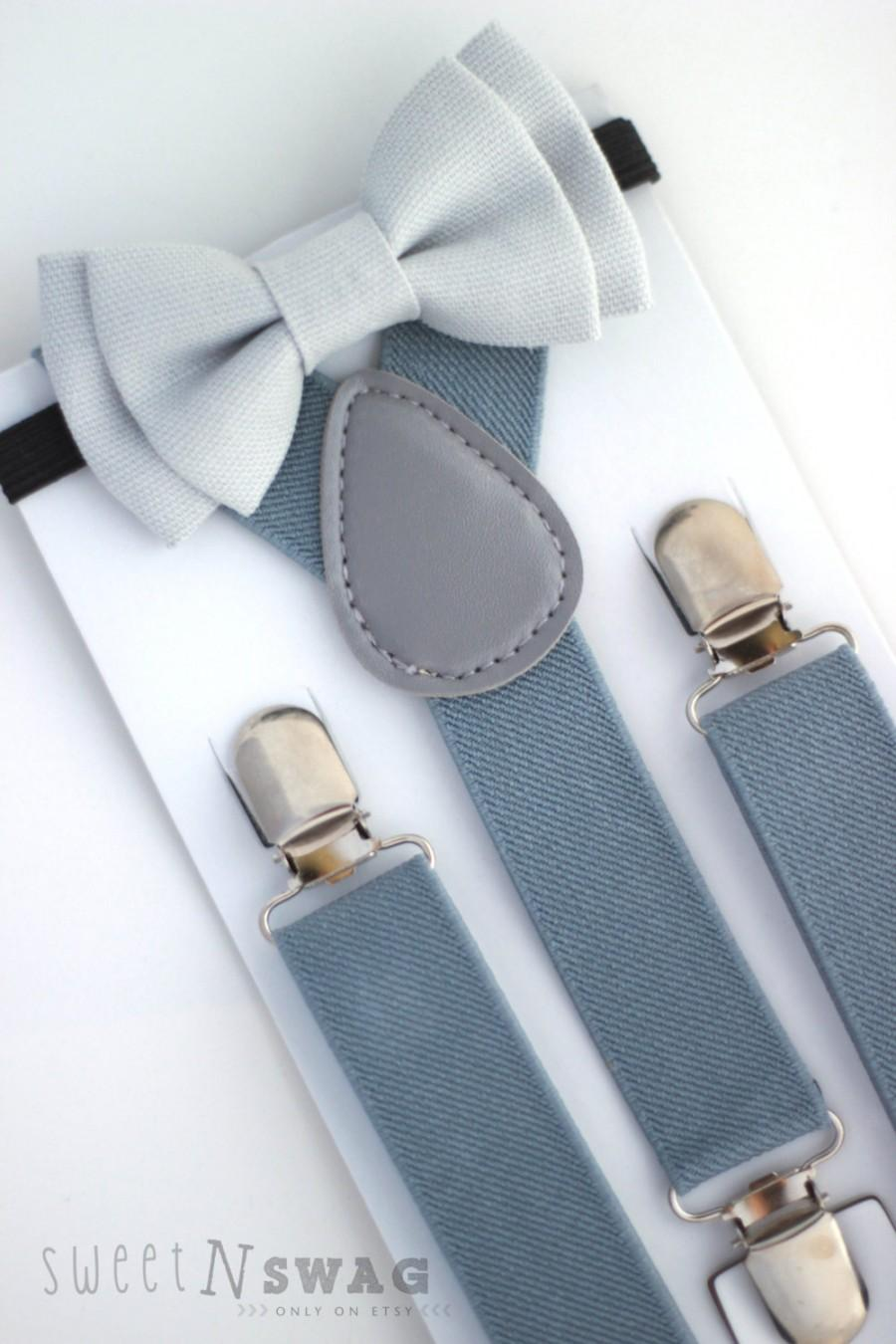 Mariage - SUSPENDER & BOWTIE SET.  Light grey suspenders. Light grey denim bow tie. Newborn - Adult sizes.