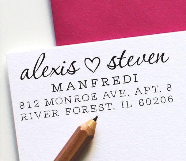 Свадьба - Custom Heart Address Stamp - Return Address Stamp - Personalized Wedding Stamp (125)