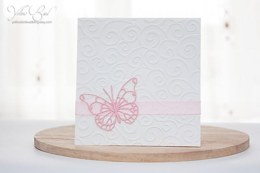 Hochzeit - Pink butterfly invitation card . Embossed invitation. Christening butterfly invitation. Quinceañera invitation