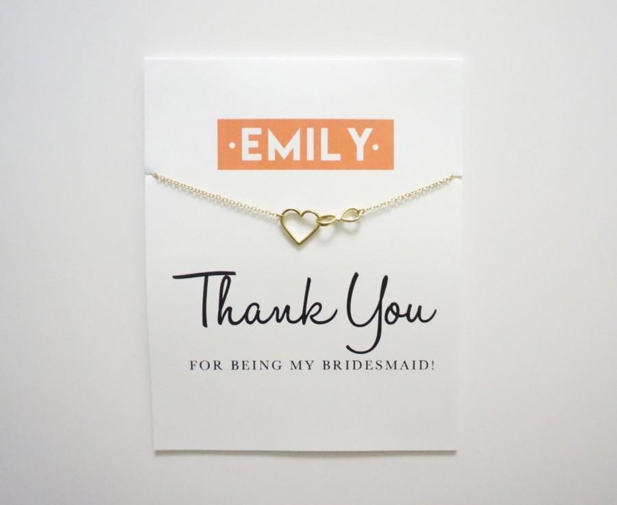 thank you card  charm necklace  bridesmaid card  thank