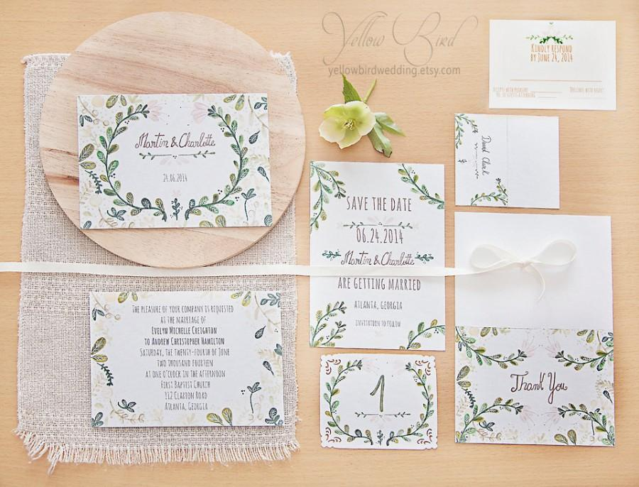 Painted Wedding Invitations: Floral Wedding Invitation Set. Hand Painted, Handwritten