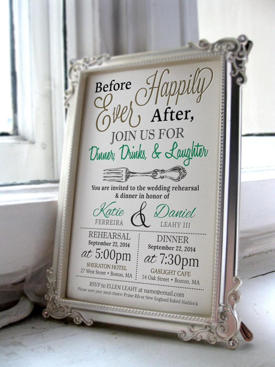 Hochzeit - 5x7 Customized Wedding Rehearsal Dinner Invitation - Digital File
