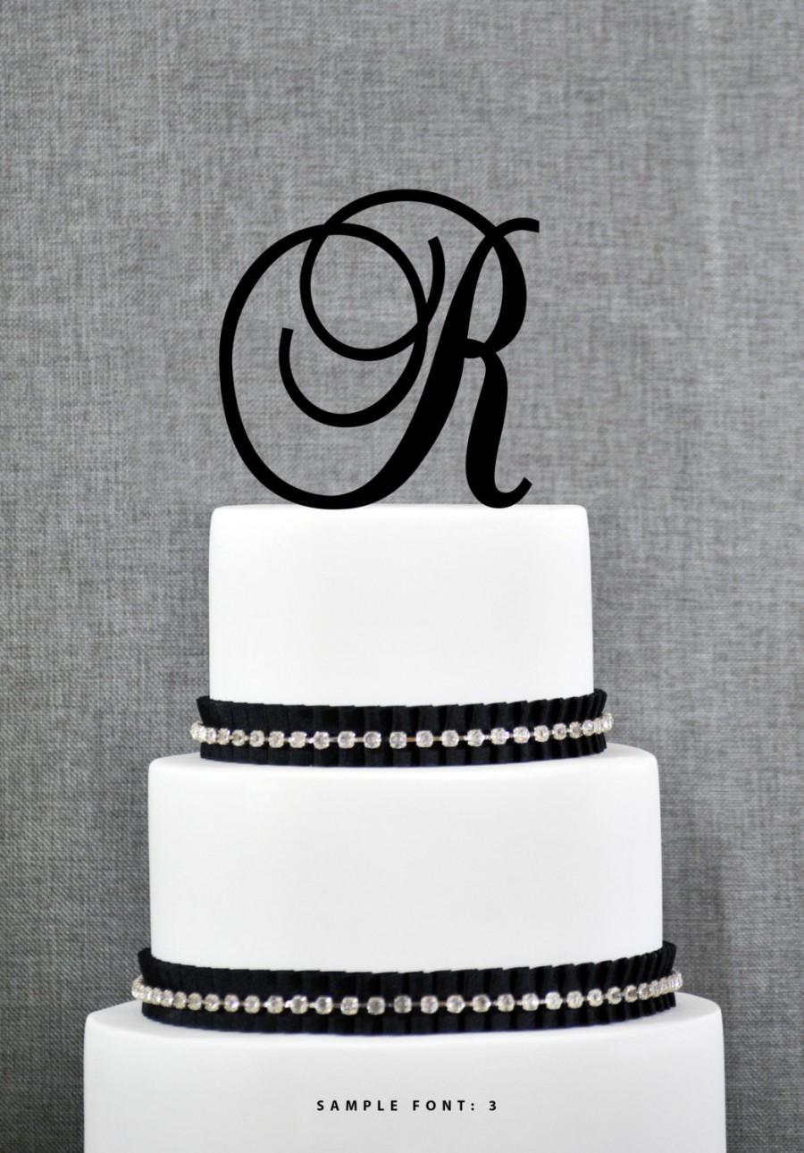 letter r monogram initial cake topper personalized initial wedding cake topper elegant custom cake topper unique cake topper