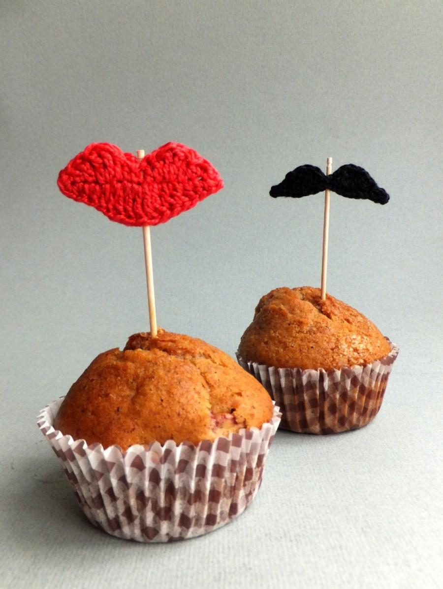 Party Cupcake Toppers Lips And Mustache Cake Toppers Wedding