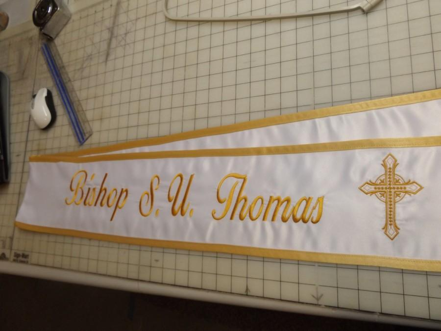 """Hochzeit - stole sashes memorial service sashes with your special request Embroidered on it  there 6"""" wide..80"""" Lg.with cross logo are double doves"""