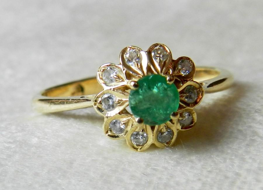 Emerald Engagement Ring 14k Genuine Emerald Ring With Genuine