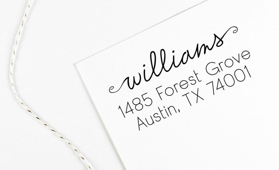 Hochzeit - Return address stamp with script name and swirls, wedding address stamp, self inking, rubber stamp wood handle