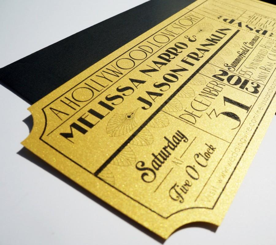 Old Hollywood, Art Deco, Gold Movie Ticket Wedding Invitation ...