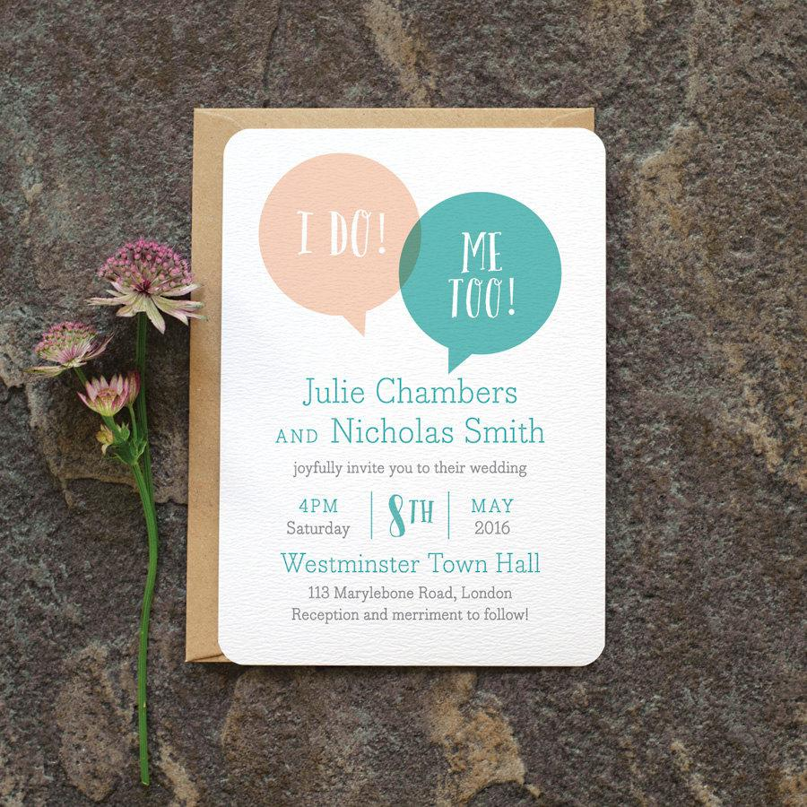 Fun Modern Wedding Invitation / \'Speech Bubble\' We Do Minimal ...