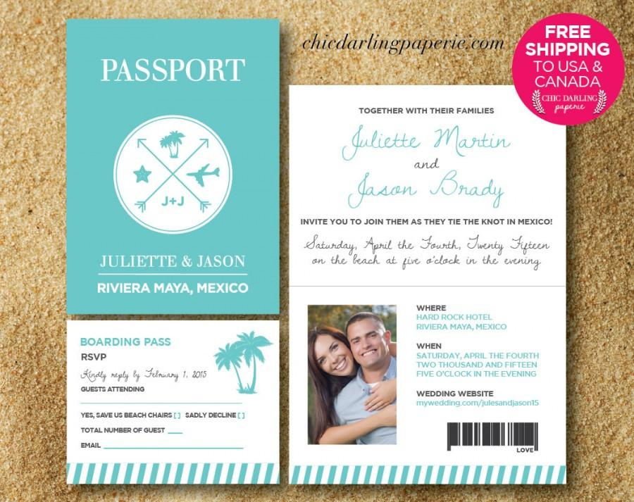 free shipping printed or digital passport wedding invitation rsvp